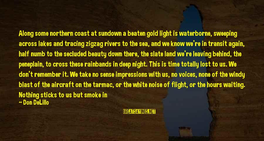 Tarmac Sayings By Don DeLillo: Along some northern coast at sundown a beaten gold light is waterborne, sweeping across lakes