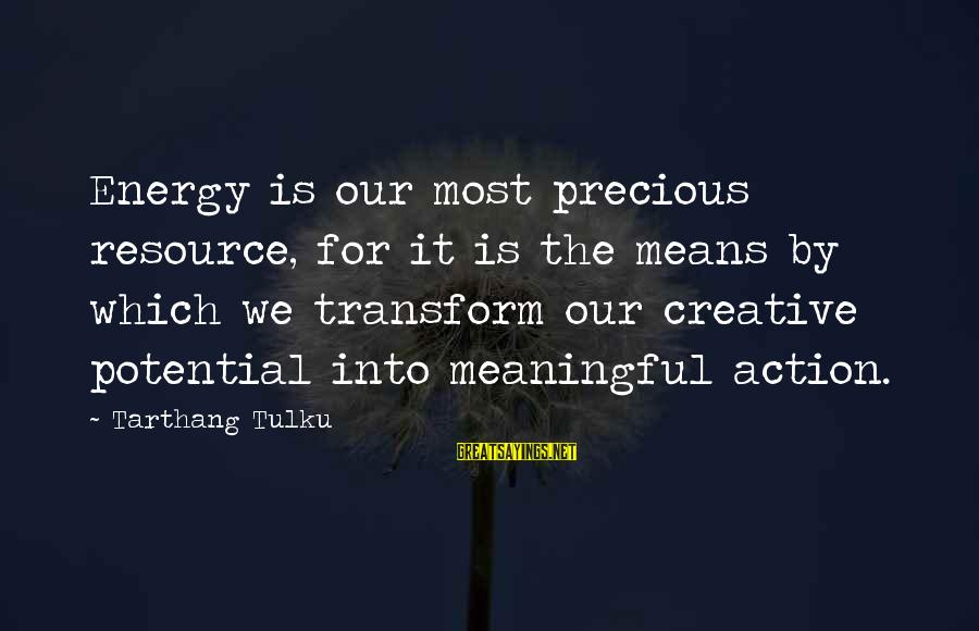 Tarthang Tulku Sayings By Tarthang Tulku: Energy is our most precious resource, for it is the means by which we transform