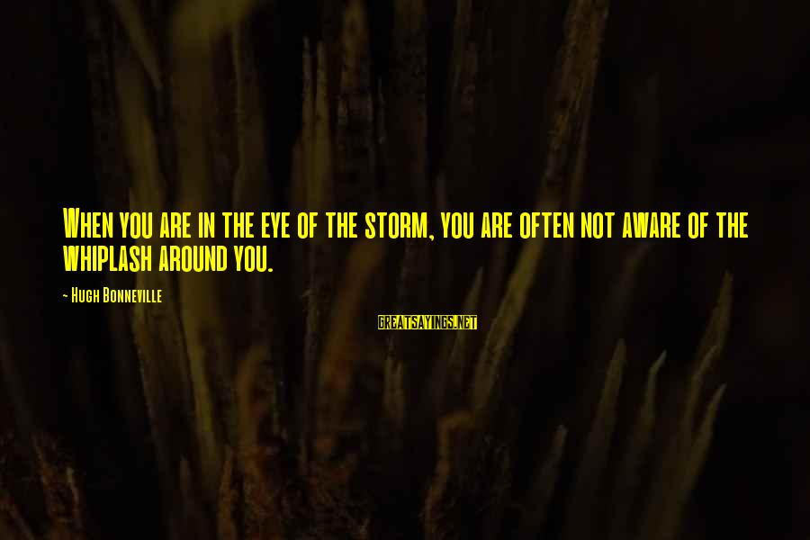 Tattvas Sayings By Hugh Bonneville: When you are in the eye of the storm, you are often not aware of