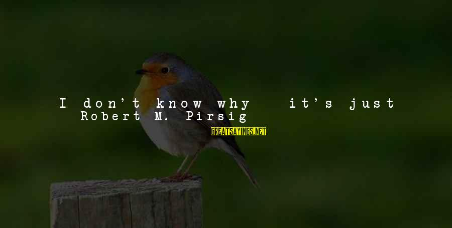 Teachers're Sayings By Robert M. Pirsig: I don't know why - it's just that - I don't know - they're not
