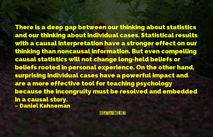 Teaching Beliefs Sayings By Daniel Kahneman: There is a deep gap between our thinking about statistics and our thinking about individual