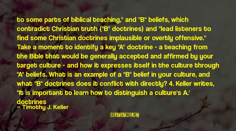 """Teaching Beliefs Sayings By Timothy J. Keller: to some parts of biblical teaching,"""" and """"B"""" beliefs, which contradict Christian truth (""""B"""" doctrines)"""