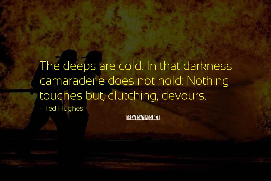 Ted Hughes Sayings: The deeps are cold: In that darkness camaraderie does not hold: Nothing touches but, clutching,