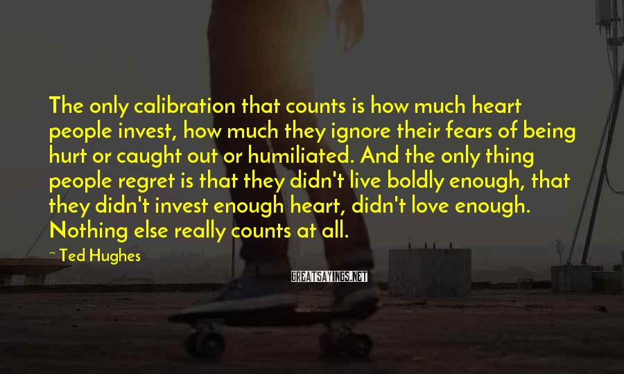 Ted Hughes Sayings: The only calibration that counts is how much heart people invest, how much they ignore