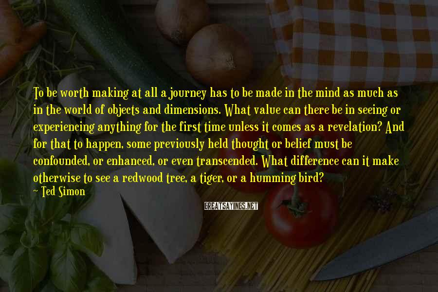 Ted Simon Sayings: To be worth making at all a journey has to be made in the mind