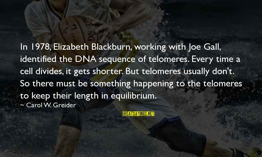 Telomeres Sayings By Carol W. Greider: In 1978, Elizabeth Blackburn, working with Joe Gall, identified the DNA sequence of telomeres. Every