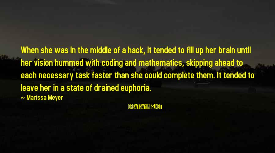 Tended Sayings By Marissa Meyer: When she was in the middle of a hack, it tended to fill up her