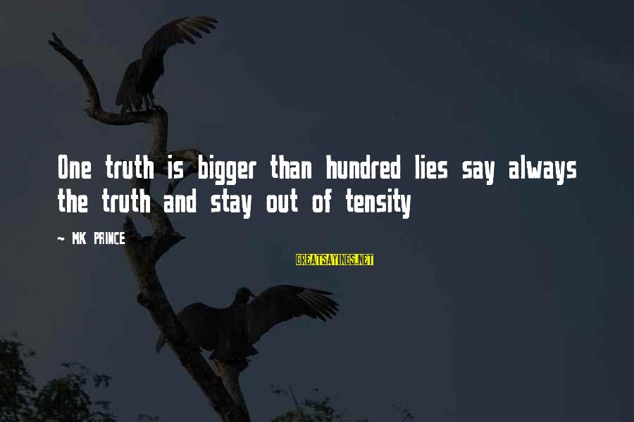 Tensity Sayings By MK PRINCE: One truth is bigger than hundred lies say always the truth and stay out of