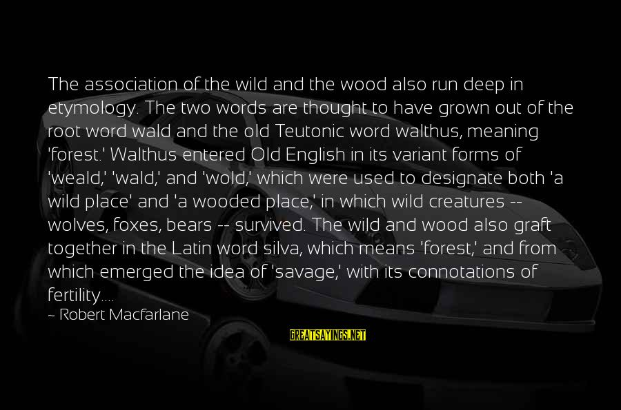 Teutonic Sayings By Robert Macfarlane: The association of the wild and the wood also run deep in etymology. The two