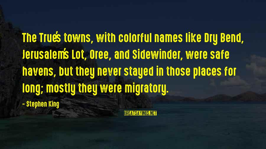 Tf 3 Sayings By Stephen King: The True's towns, with colorful names like Dry Bend, Jerusalem's Lot, Oree, and Sidewinder, were