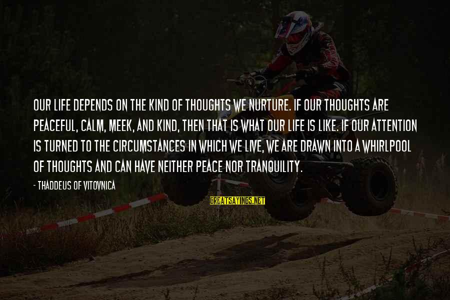 Thaddeus Sayings By Thaddeus Of Vitovnica: Our life depends on the kind of thoughts we nurture. If our thoughts are peaceful,