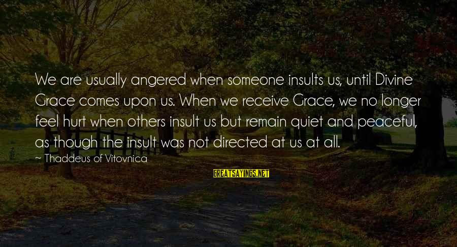 Thaddeus Sayings By Thaddeus Of Vitovnica: We are usually angered when someone insults us, until Divine Grace comes upon us. When