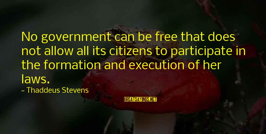 Thaddeus Sayings By Thaddeus Stevens: No government can be free that does not allow all its citizens to participate in