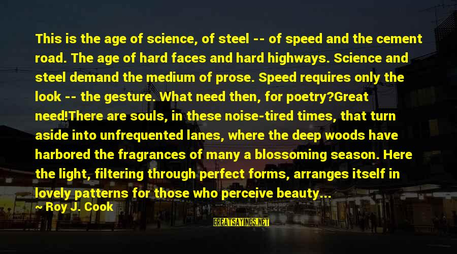 The Age Of Steel Sayings By Roy J. Cook: This is the age of science, of steel -- of speed and the cement road.