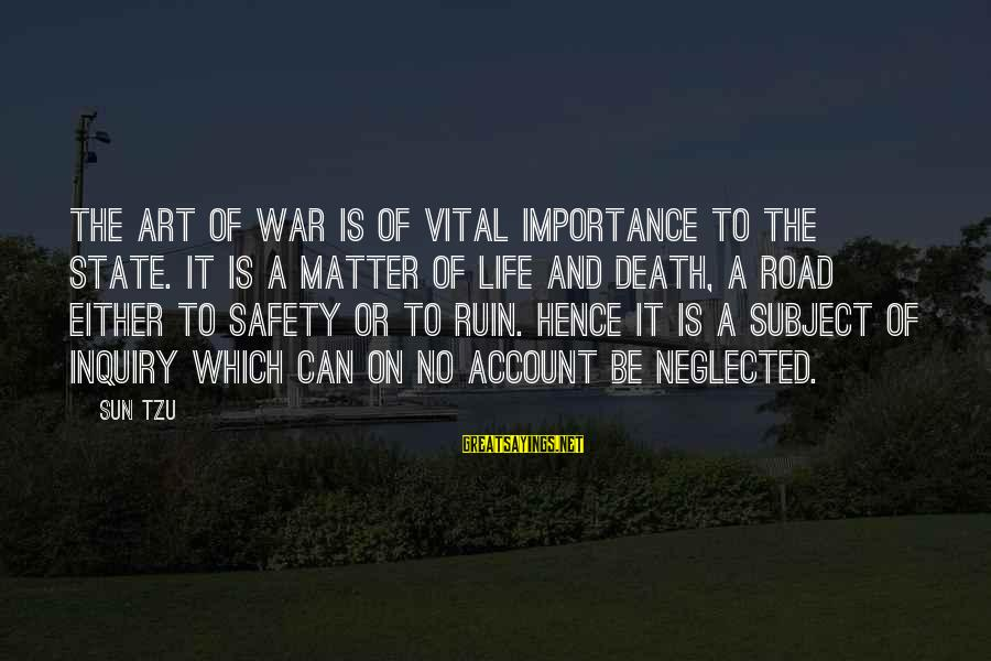 The Art Of War Sayings By Sun Tzu: The art of war is of vital importance to the State. It is a matter
