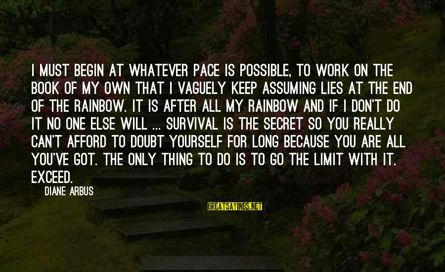 The Book The Secret Sayings By Diane Arbus: I must begin at whatever pace is possible, to work on the book of my