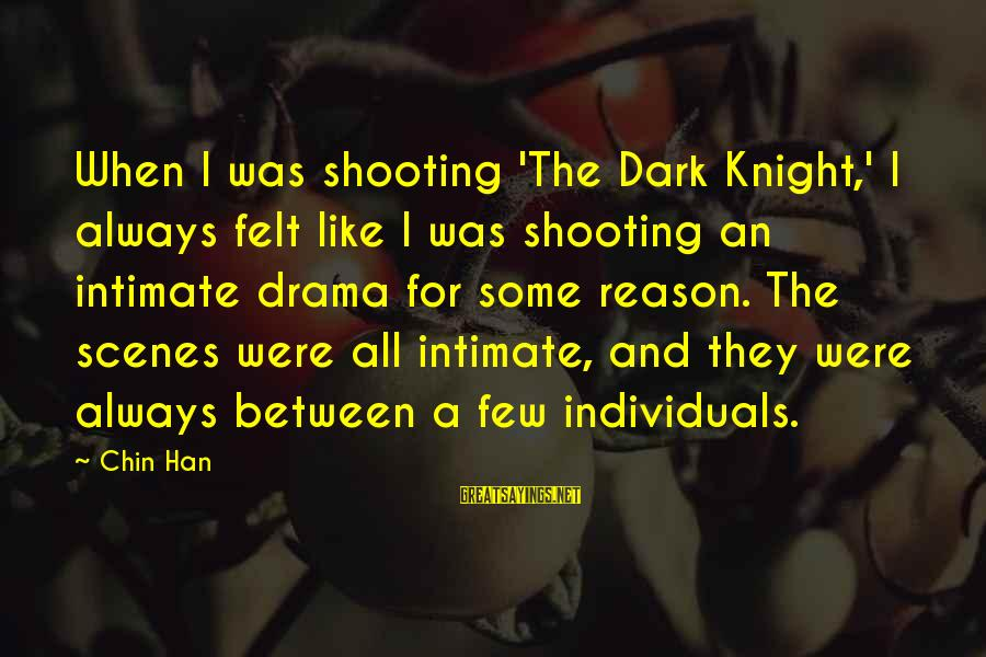The Dark Knight Sayings By Chin Han: When I was shooting 'The Dark Knight,' I always felt like I was shooting an