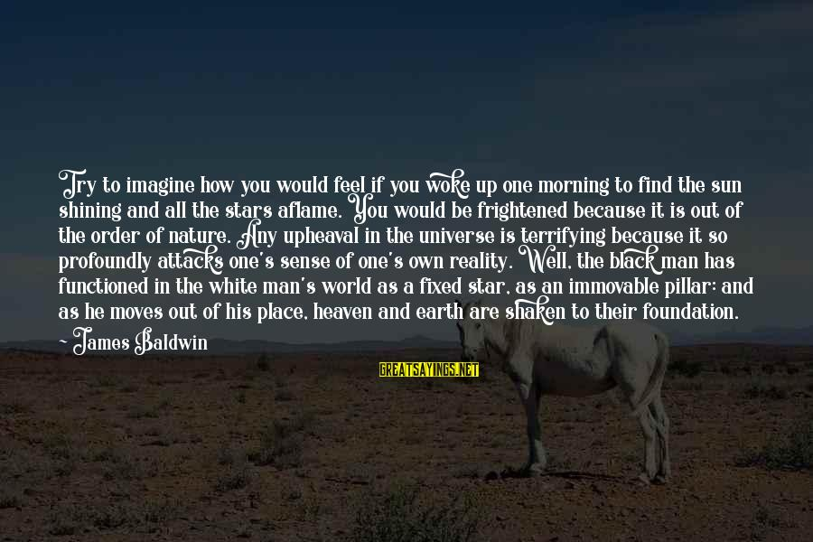 The Earth And Stars Sayings By James Baldwin: Try to imagine how you would feel if you woke up one morning to find