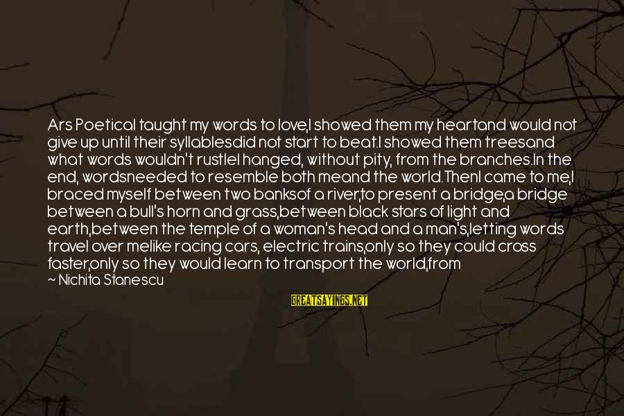 The Earth And Stars Sayings By Nichita Stanescu: Ars PoeticaI taught my words to love,I showed them my heartand would not give up