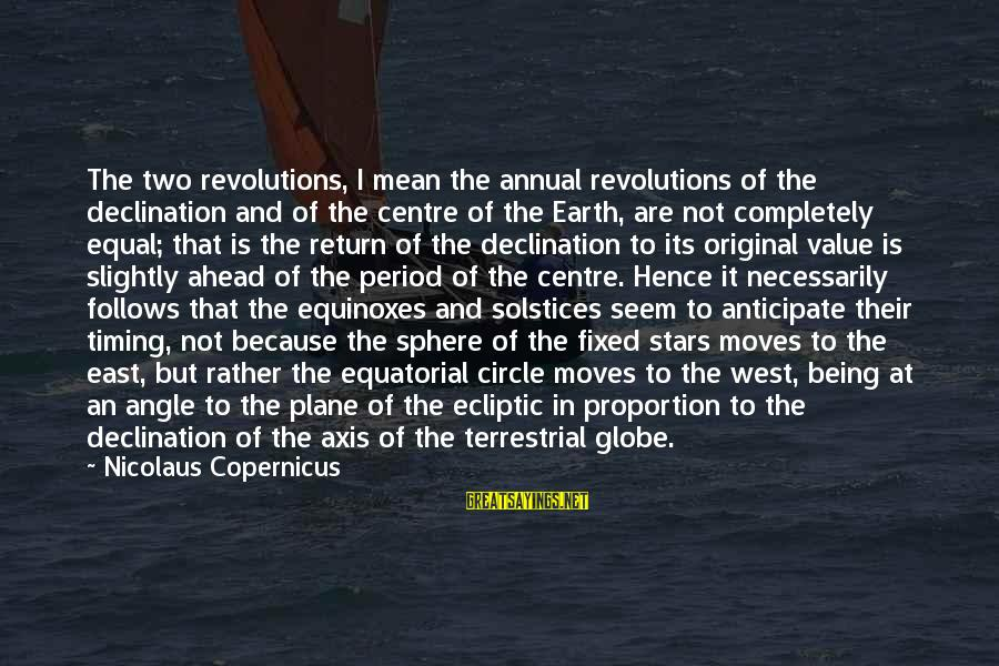 The Earth And Stars Sayings By Nicolaus Copernicus: The two revolutions, I mean the annual revolutions of the declination and of the centre
