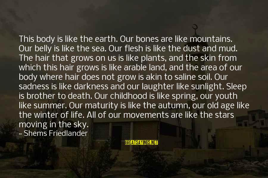 The Earth And Stars Sayings By Shems Friedlander: This body is like the earth. Our bones are like mountains. Our belly is like