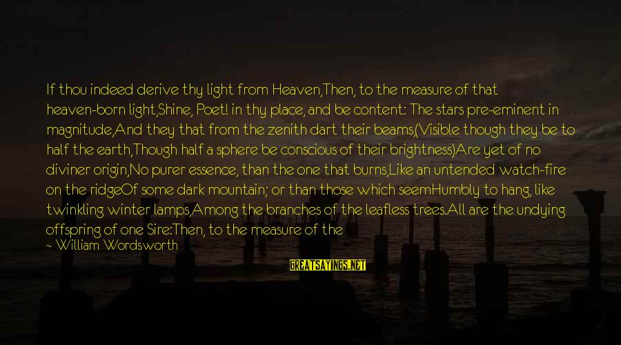 The Earth And Stars Sayings By William Wordsworth: If thou indeed derive thy light from Heaven,Then, to the measure of that heaven-born light,Shine,