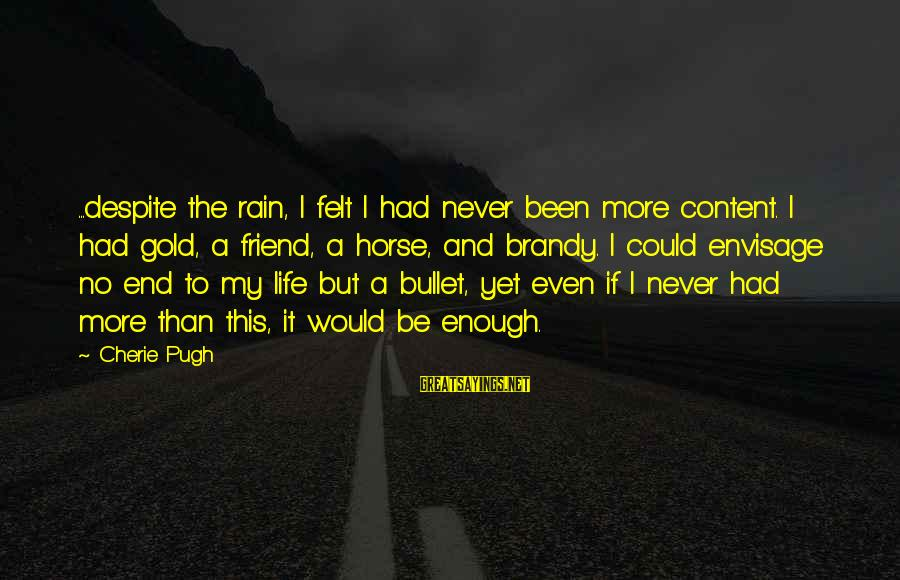 The End Sayings By Cherie Pugh: ...despite the rain, I felt I had never been more content. I had gold, a