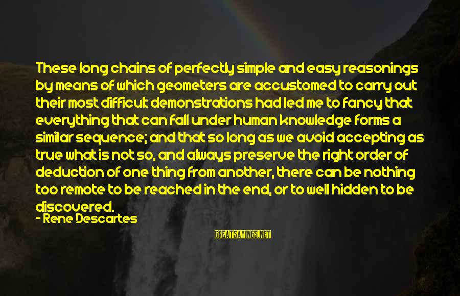 The End Sayings By Rene Descartes: These long chains of perfectly simple and easy reasonings by means of which geometers are