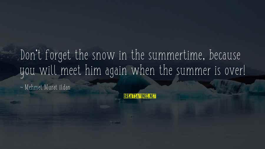 The Forgetting The Past Sayings By Mehmet Murat Ildan: Don't forget the snow in the summertime, because you will meet him again when the
