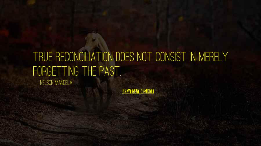 The Forgetting The Past Sayings By Nelson Mandela: True reconciliation does not consist in merely forgetting the past.