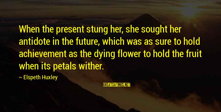 The Future Hold Sayings By Elspeth Huxley: When the present stung her, she sought her antidote in the future, which was as