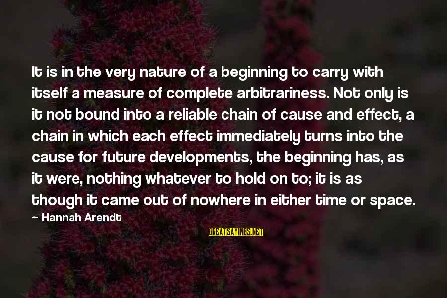 The Future Hold Sayings By Hannah Arendt: It is in the very nature of a beginning to carry with itself a measure