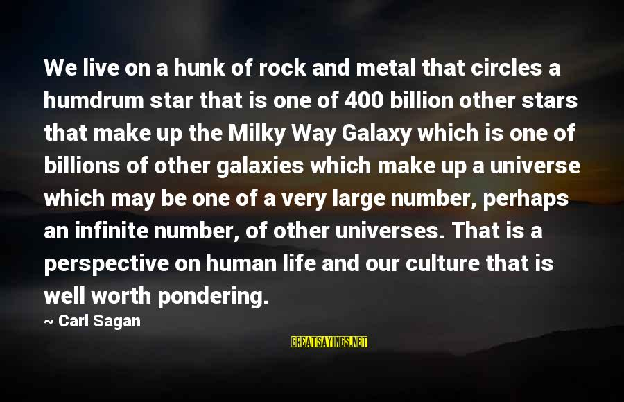 The Galaxy And Stars Sayings By Carl Sagan: We live on a hunk of rock and metal that circles a humdrum star that