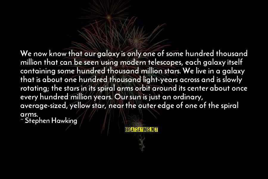 The Galaxy And Stars Sayings By Stephen Hawking: We now know that our galaxy is only one of some hundred thousand million that