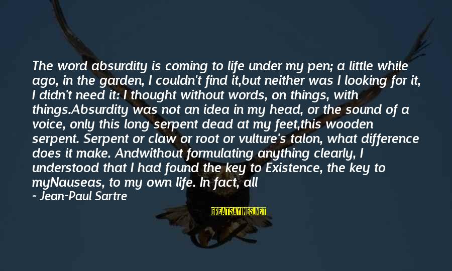 The Garden Of Words Sayings By Jean-Paul Sartre: The word absurdity is coming to life under my pen; a little while ago, in