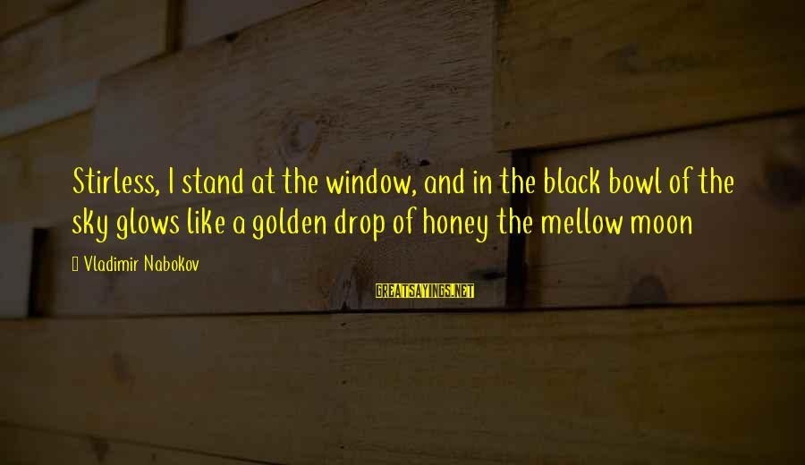 The Golden Bowl Sayings By Vladimir Nabokov: Stirless, I stand at the window, and in the black bowl of the sky glows