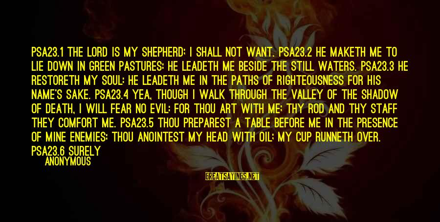 The Goodness Of The Lord Sayings By Anonymous: PSA23.1 The LORD is my shepherd; I shall not want. PSA23.2 He maketh me to