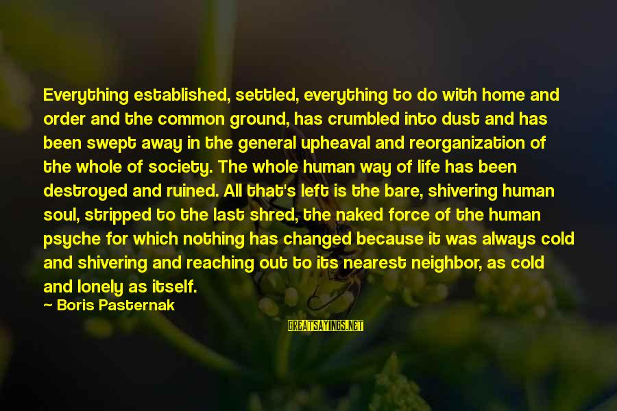 The Human Psyche Sayings By Boris Pasternak: Everything established, settled, everything to do with home and order and the common ground, has