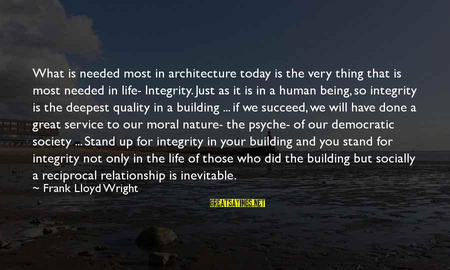 The Human Psyche Sayings By Frank Lloyd Wright: What is needed most in architecture today is the very thing that is most needed