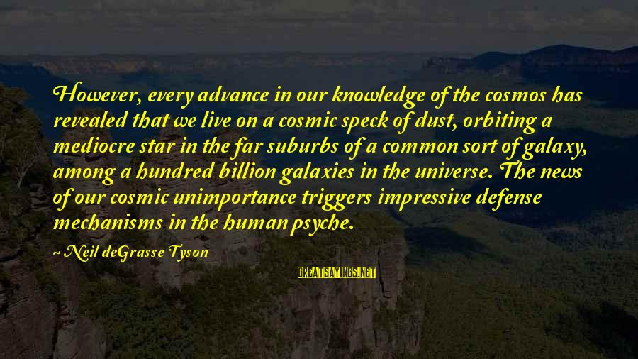 The Human Psyche Sayings By Neil DeGrasse Tyson: However, every advance in our knowledge of the cosmos has revealed that we live on