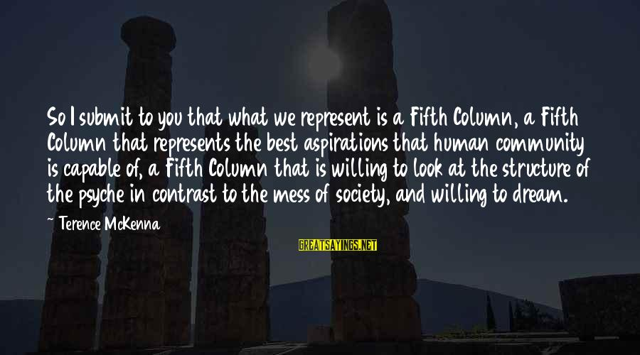 The Human Psyche Sayings By Terence McKenna: So I submit to you that what we represent is a Fifth Column, a Fifth