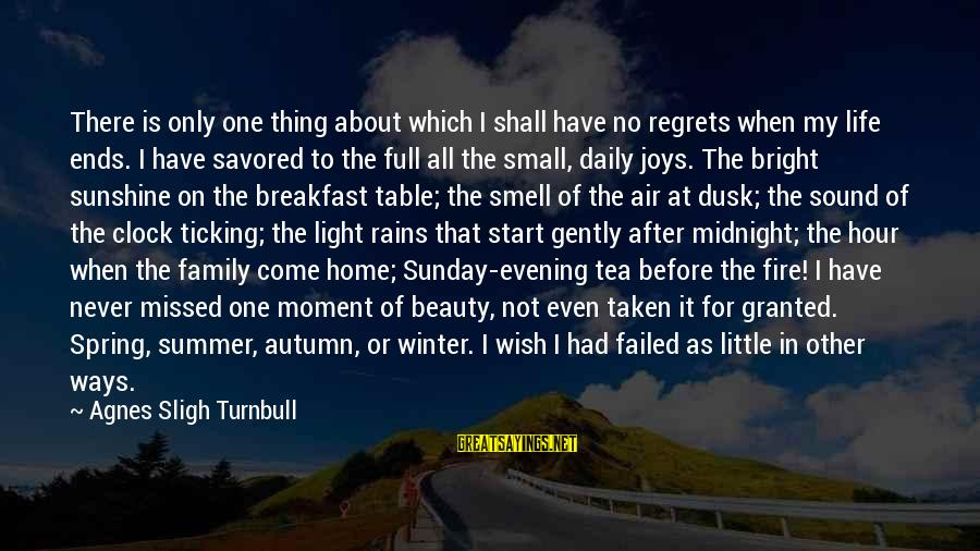 The Joys Of Summer Sayings By Agnes Sligh Turnbull: There is only one thing about which I shall have no regrets when my life