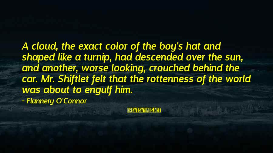 The Lightning Thief Love Sayings By Flannery O'Connor: A cloud, the exact color of the boy's hat and shaped like a turnip, had