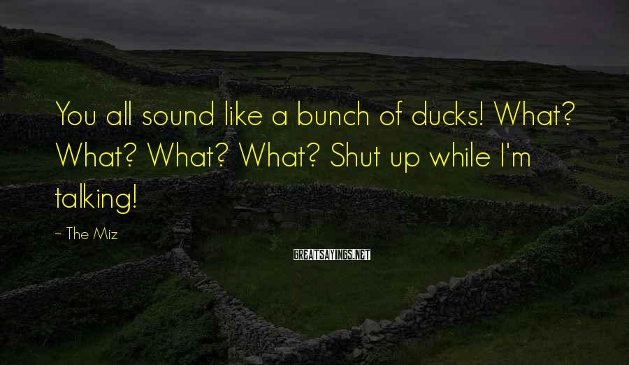 The Miz Sayings: You all sound like a bunch of ducks! What? What? What? What? Shut up while