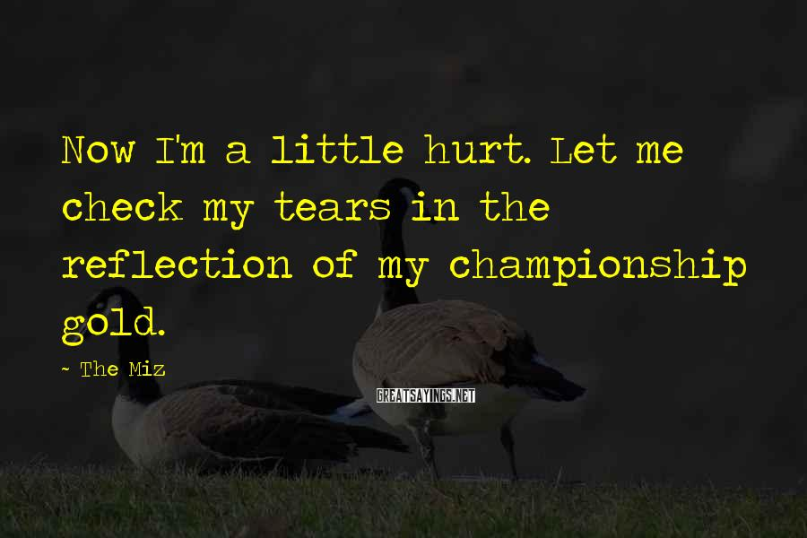 The Miz Sayings: Now I'm a little hurt. Let me check my tears in the reflection of my