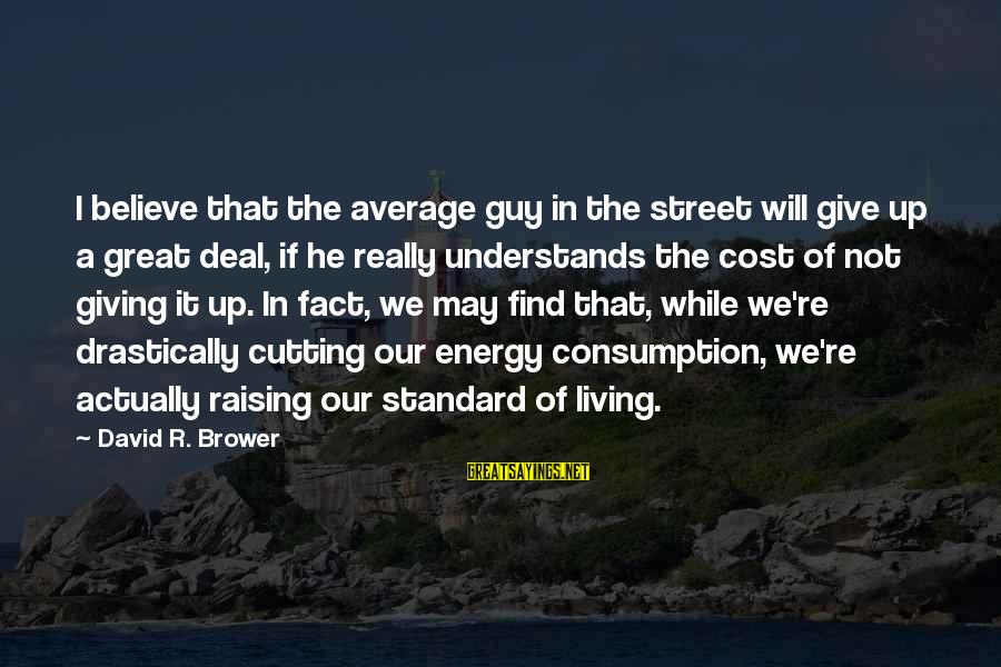 The Mortal Instrument Sayings By David R. Brower: I believe that the average guy in the street will give up a great deal,