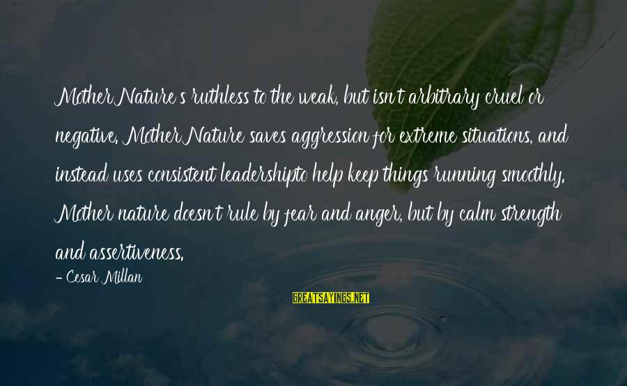 The Mother Nature Sayings By Cesar Millan: Mother Nature's ruthless to the weak, but isn't arbitrary cruel or negative. Mother Nature saves