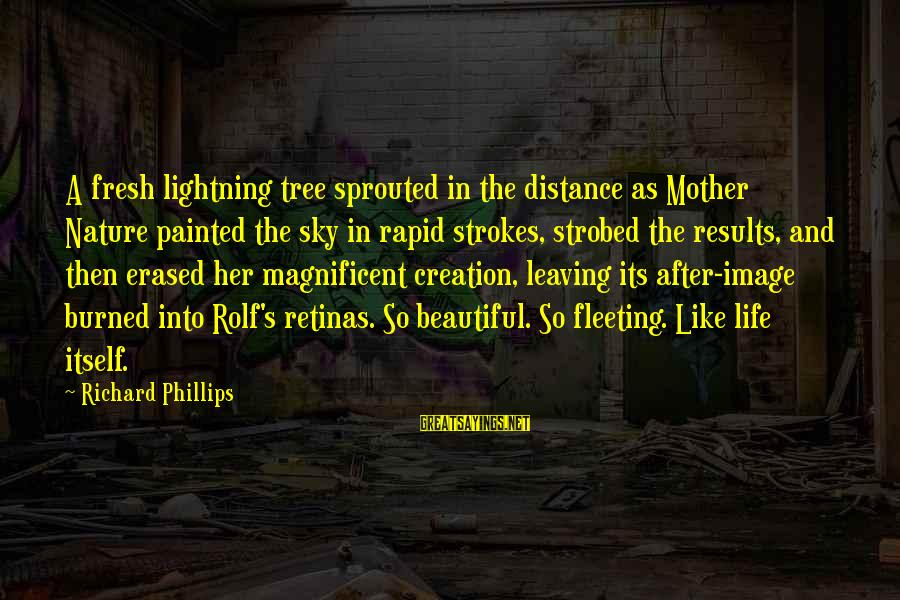 The Mother Nature Sayings By Richard Phillips: A fresh lightning tree sprouted in the distance as Mother Nature painted the sky in
