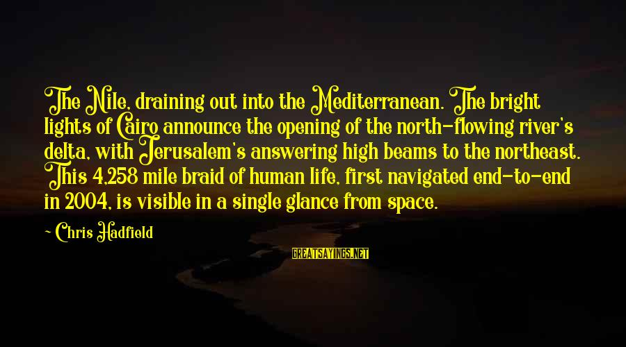 The Northeast Sayings By Chris Hadfield: The Nile, draining out into the Mediterranean. The bright lights of Cairo announce the opening