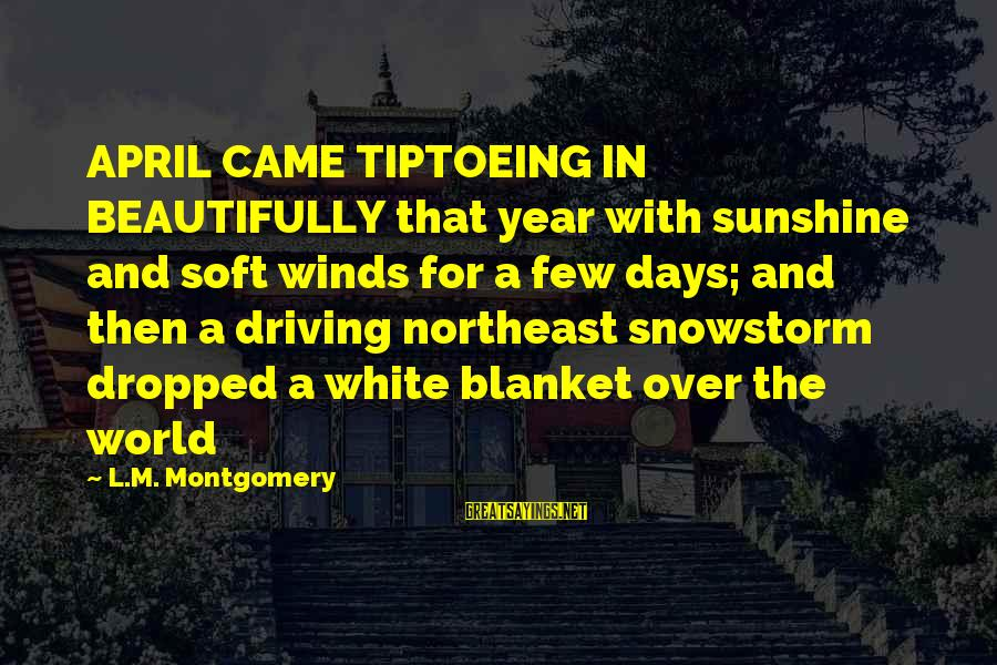 The Northeast Sayings By L.M. Montgomery: APRIL CAME TIPTOEING IN BEAUTIFULLY that year with sunshine and soft winds for a few